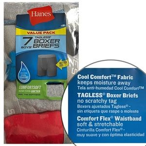 Hanes 7 Pack of Tagless Boxer Briefs